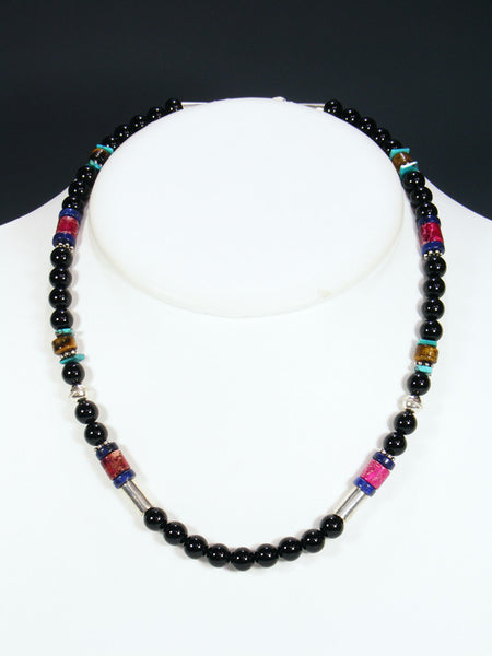 "Onyx and Lapis 20"" Single Strand Choker Bead Necklace"