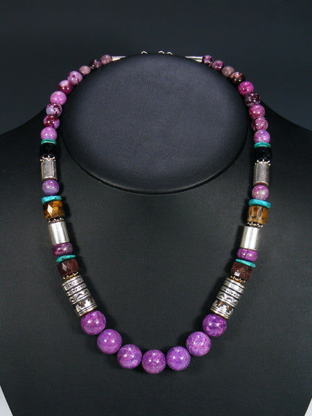 Dyed Jasper and Turquoise Single Strand Necklace