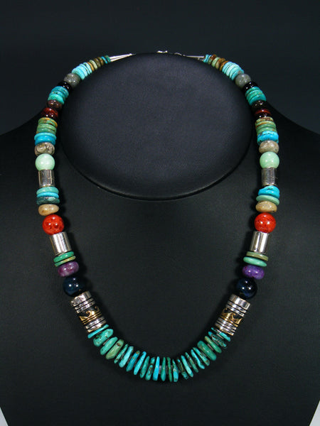 "Turquoise and Tiger Eye 21"" Single Strand Bead Necklace"
