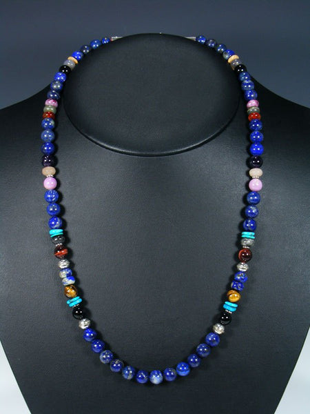 "24"" Single Strand Beaded Lapis and Turquoise Necklace"