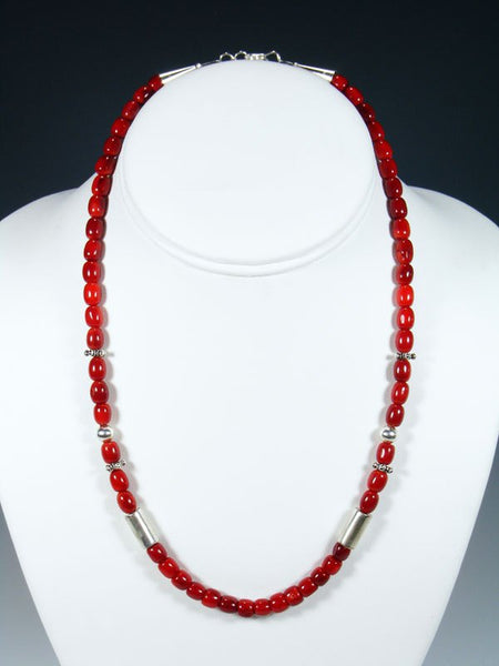 "Coral 18"" Single Strand Choker Bead Necklace"