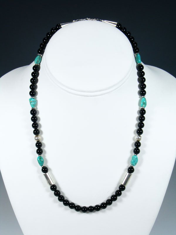 "18"" Onyx and Turquoise Single Strand Choker Bead Necklace"