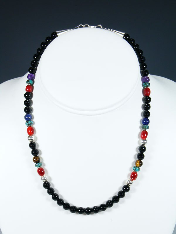 "16"" Onyx and Coral Single Strand Beaded Necklace"