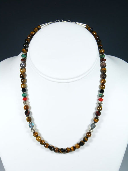 "16"" Tiger Eye Single Strand Beaded Necklace"