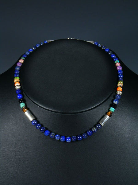 "16"" Blue Lapis Single Strand Beaded Necklace"