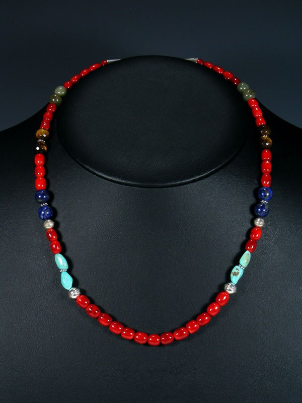 "20"" Single Strand Beaded Coral and Turquoise Necklace"