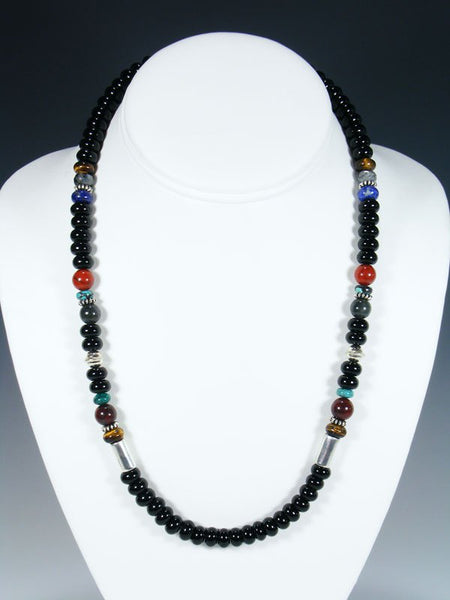"Onyx and Turquoise 20"" Single Strand Beaded Necklace"