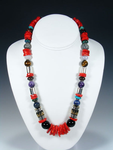 "Coral and Onyx 21"" Single Strand Bead Necklace"