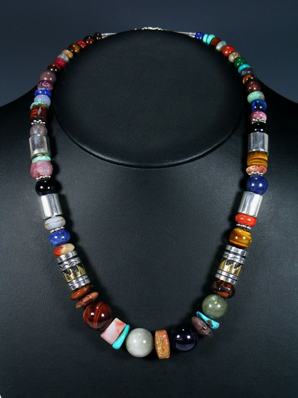 "Multi Color 21"" Single Strand Bead Necklace"