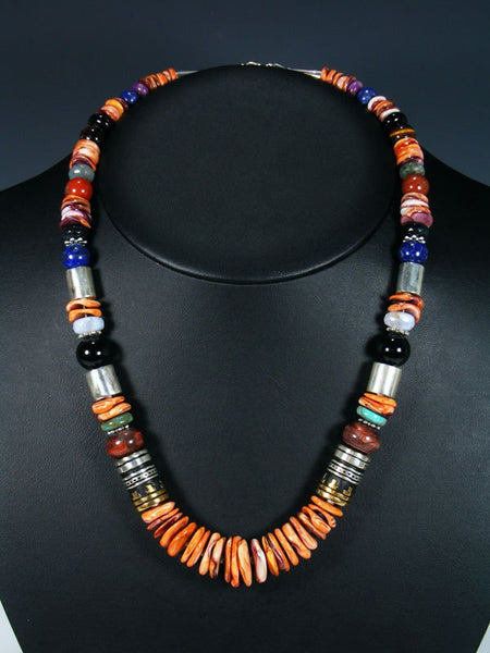 "Spiny Oyster and Onyx 21"" Single Strand Bead Necklace"