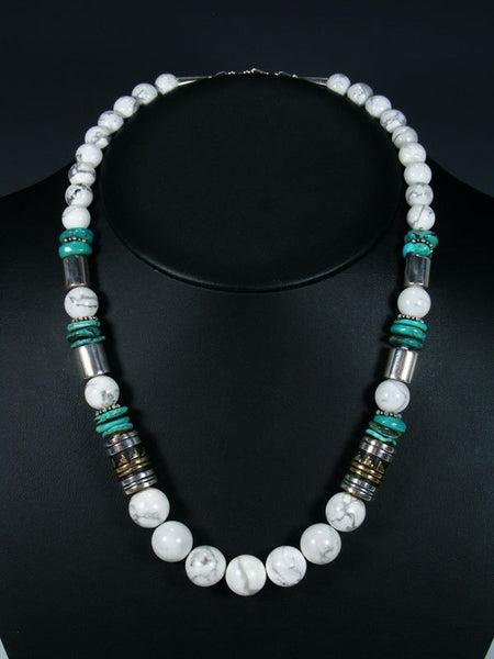 "White Marble and Turquoise 21"" Single Strand Bead Necklace"