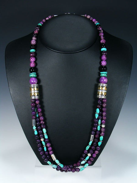 "Purple Dyed Jasper and Turquoise Multi Strand 30"" Beaded Necklace"
