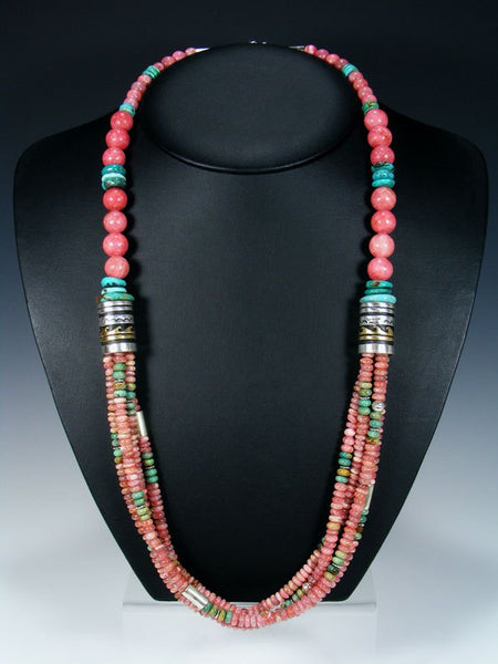 Rhodochrosite and Turquoise Multistrand Beaded Necklace