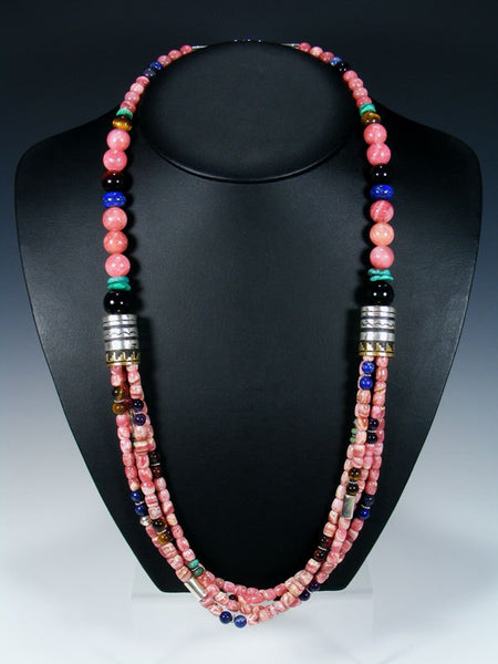 Rhodochrosite and Lapis Multi-strand Beaded Necklace