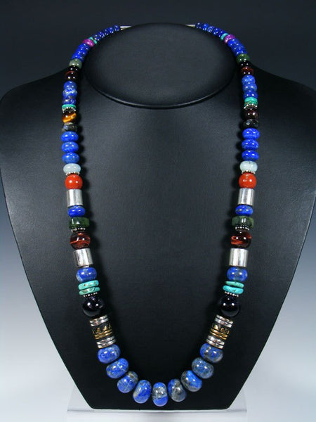 "Lapis and Turquoise 28"" Single Strand Beaded Necklace"
