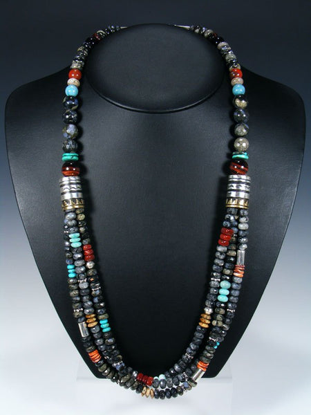 Picasso Marble and Larimar Long Multi Strand Bead Necklace