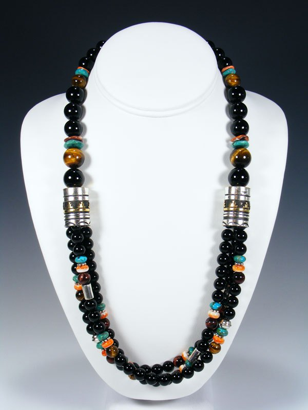 "Black Onyx and Turquoise 24"" Multi Strand Bead Necklace"