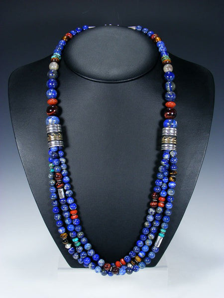 "Lapis and Tiger Eye Multi Strand 30"" Beaded Necklace"