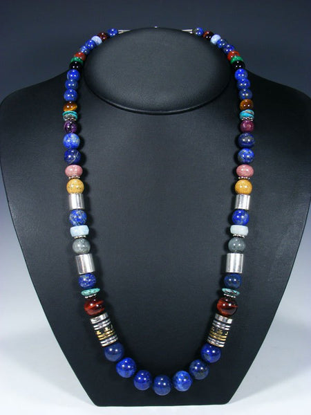 "Lapis 28"" Single Strand Long Beaded Necklace"