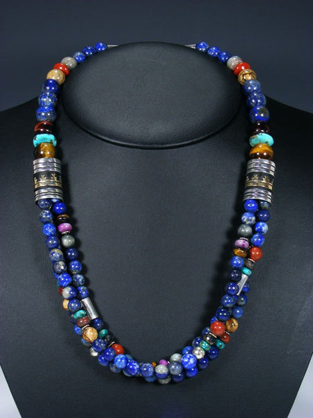 "24"" Lapis and Tiger Eye Multi Strand Bead Necklace"