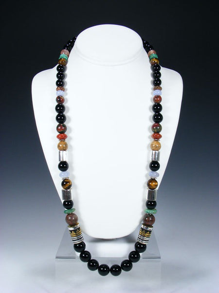 "Black Onyx 28"" Single Strand Long Beaded Necklace"