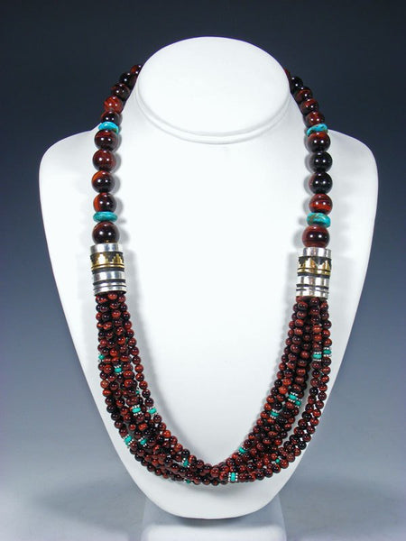 "24"" Navajo Tiger Eye and Turquoise Multi Strand Beaded Necklace"