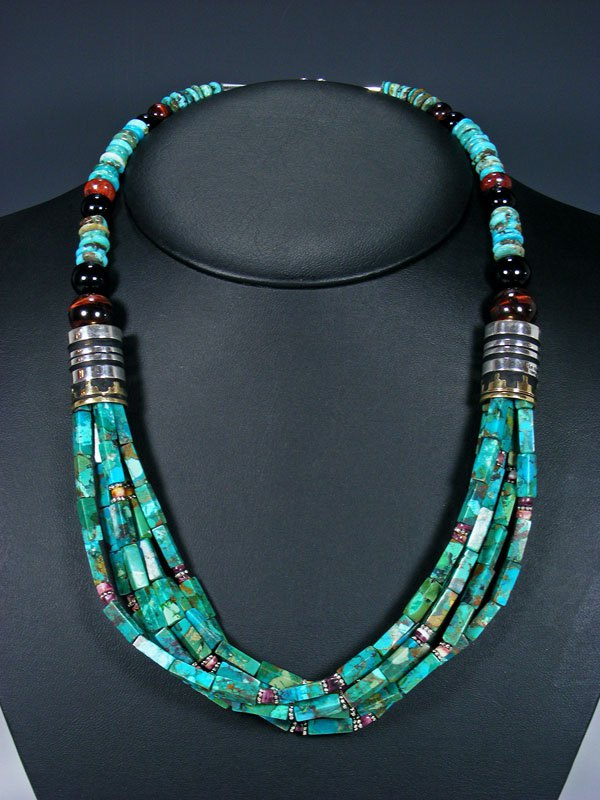 "24"" Navajo Turquoise and Tiger Eye Multi Strand Beaded Necklace"