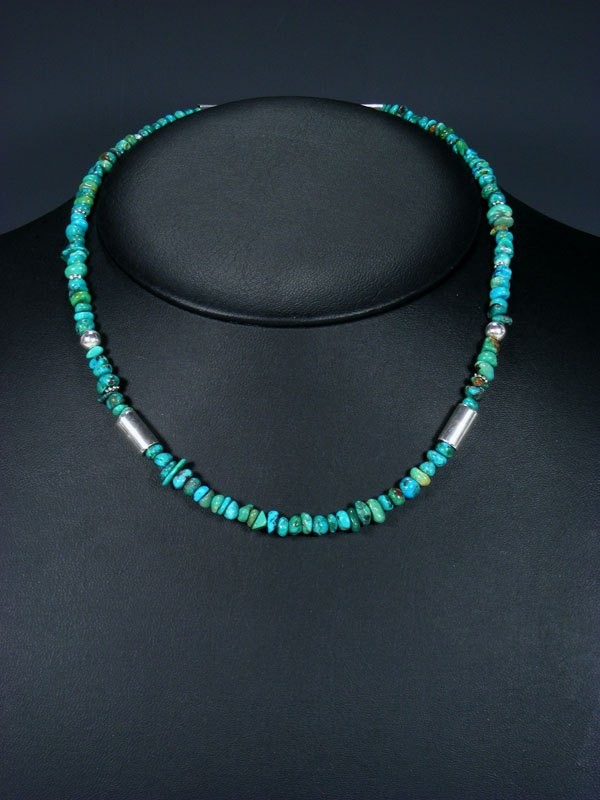 "Turquoise 18"" Single Strand Choker Bead Necklace"