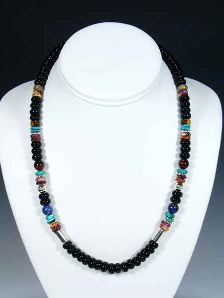 "Black Onyx 20"" Single Strand Choker Bead Necklace"