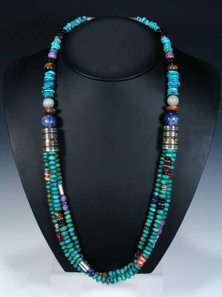 Tiger Eye and Turquoise Multistrand Beaded Necklace