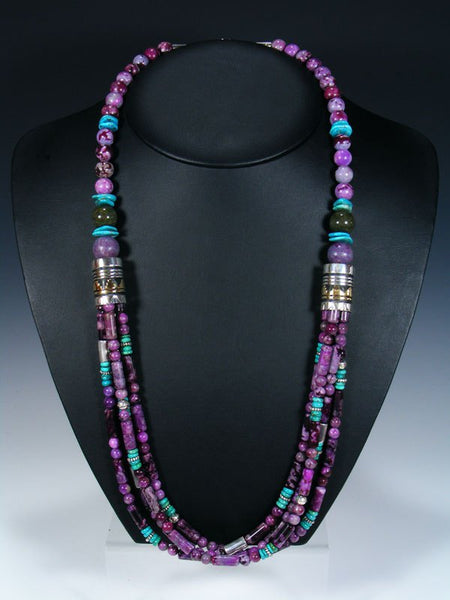 Dyed Jasper and Turquoise Multistrand Beaded Necklace