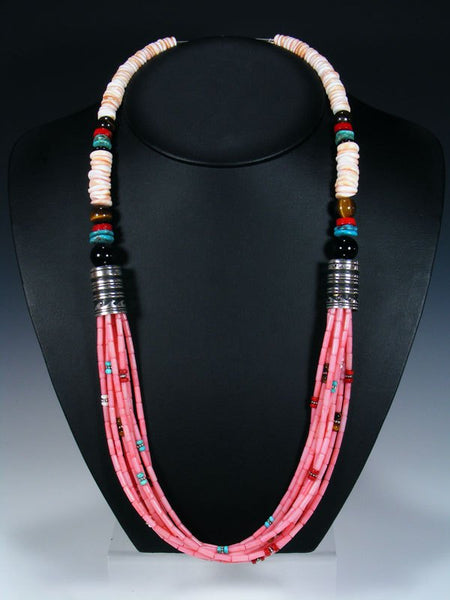 Pink Coral and Turquoise Multistrand Beaded Necklace
