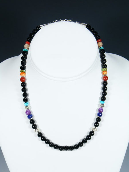 "Navajo 16"" Turquoise and Onyx Single Strand Necklace"
