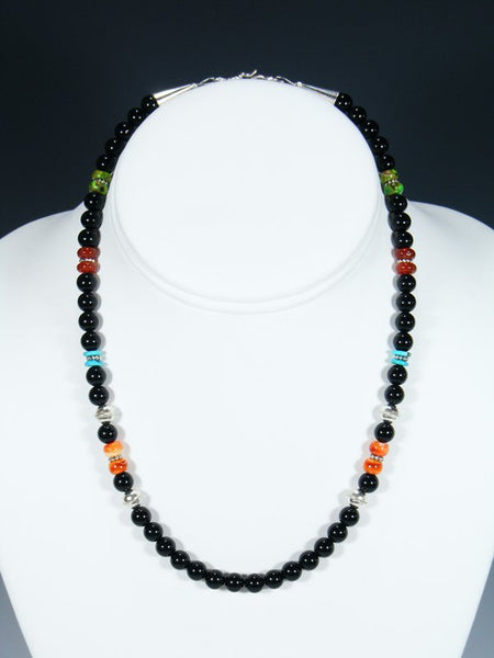 "16"" Spiny Oyster and Onyx Single Strand Necklace"