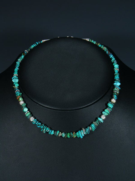 "Navajo 16"" Turquoise Single Strand Choker Necklace"