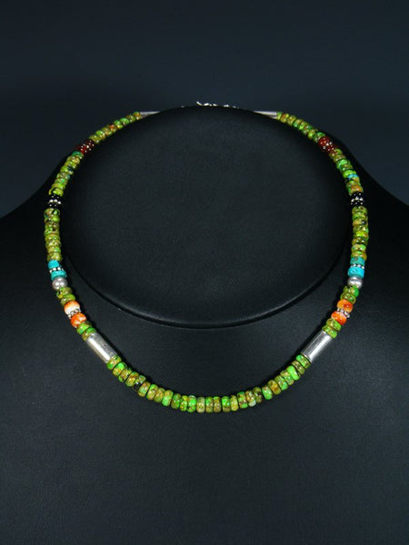 "Navajo 16"" Dyed Allunite Single Strand Choker Necklace"