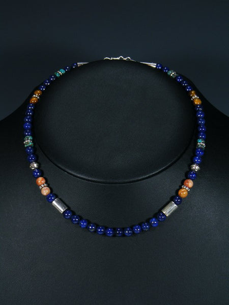 "Navajo 16"" Lapis Single Strand Choker Necklace"