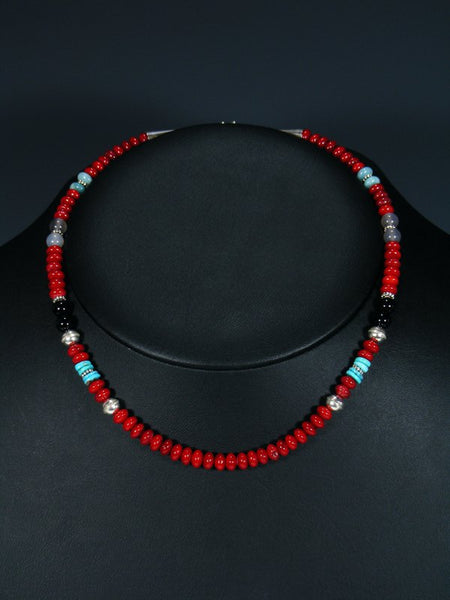 "Navajo 16"" Coral Single Strand Choker Necklace"