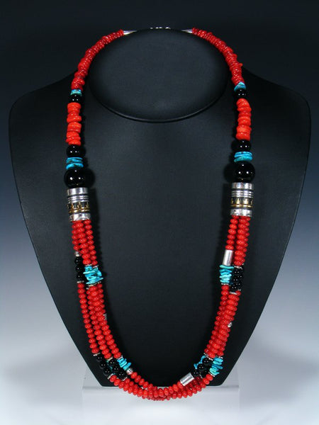 Coral and Turquoise Multi-strand Beaded Necklace