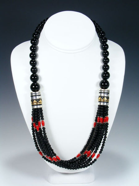 "Coral and Onyx Multi Strand Beaded 24"" Necklace"