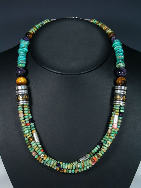 "Navajo Turquoise Gemstone 24"" Multi Strand Beaded Necklace"