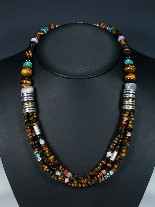 "Tiger Eye and Turquoise 24"" Multi Strand Bead Necklace"