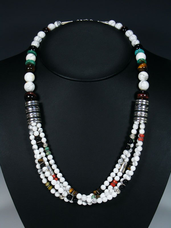 "White Marble and Turquoise 24"" Multi Strand Bead Necklace"