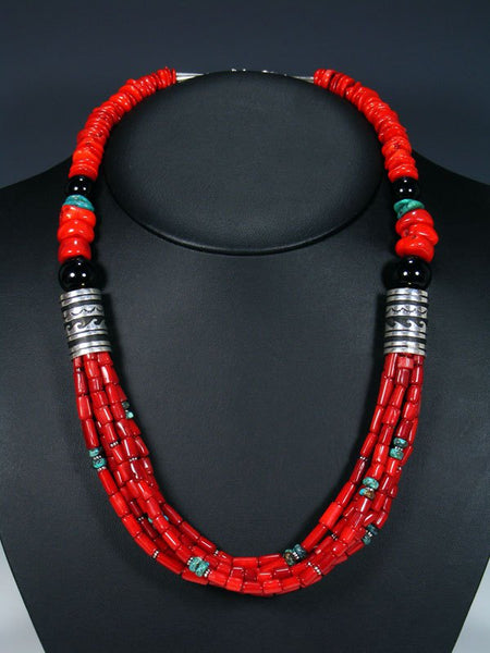 "Coral and Turquoise Multi Strand Beaded 24"" Necklace"