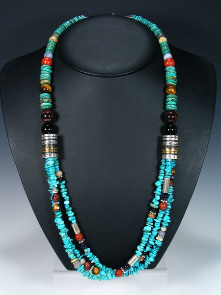 "Navajo and Onyx and Turquoise Multi Strand 30"" Beaded Necklace"
