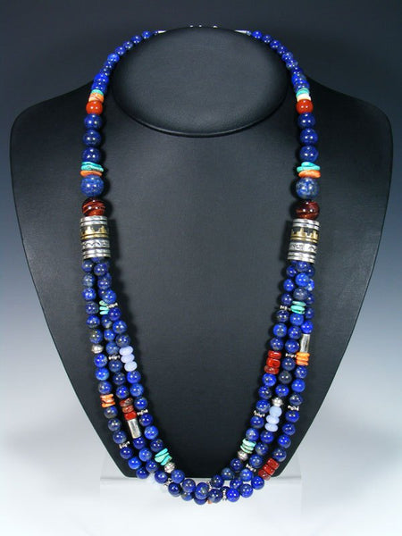 "Navajo Lapis and Turquoise Multistrand 30"" Beaded Necklace"