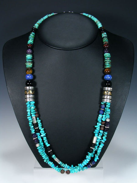 "Navajo and Lapis and Turquoise Multi Strand 30"" Beaded Necklace"