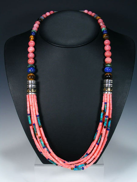 "Long Pink Coral and Turquoise Multi Strand 30"" Beaded Necklace"