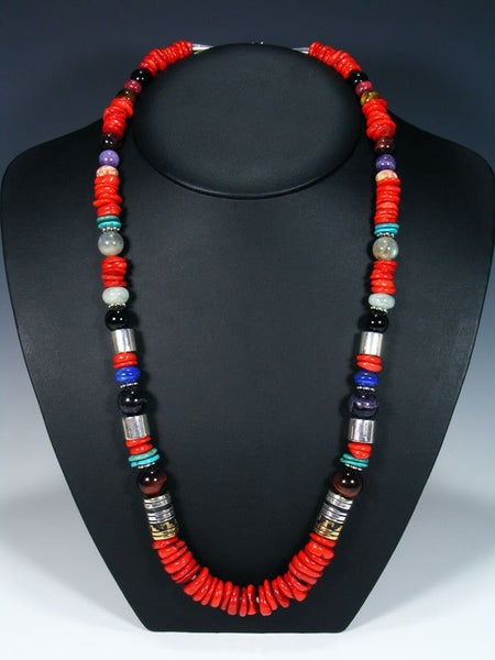 "Navajo Coral Long Single Strand 28"" Beaded Necklace"