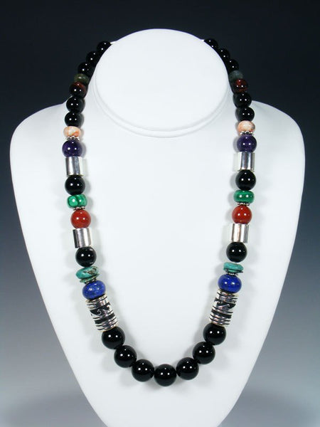 "21"" Black Onyx Large Single Strand Beaded Necklace"